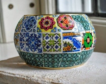 Portugal HUGE Antique Azulejo Tile Replica BANGLE BRACeLET.  OOAK Majolica Mosaic History -