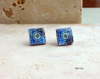 Portugal Tile Antique Azulejo Tile Replica POST STUD EARRINGS 17th Century Blue in Gift Box! - Brass