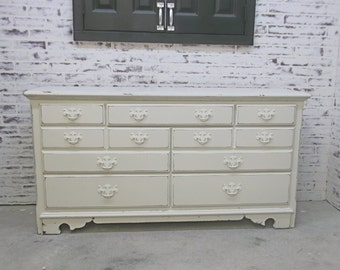 Thomasville Double Dresser, Distressed White Cottage Style DR902 Shabby Vintage Farmhouse Chic