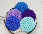 Pot Scrubbers, crochet, cleaning aids, kitchen, scour pad, nylon net scrubbie, home, eco-friendly. Blues 'n' Purples Collection of a 5pk.
