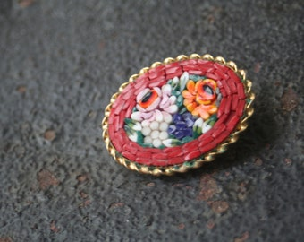 Vintage Micro Mosaic Red Background Yellow Blue Pink Floral Flower Brooch Pin ITALY