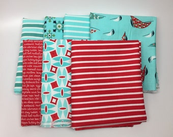 WINTER SALE - Daysail - Fat Quarter Bundle (7) - Aqua and Red - by Bonnie and Camille for Moda Fabrics
