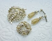 Vintage Rhinestone Faux Pearl Jewelry Lot - Brooches - 1 Coro, Screw Back Earrings 1950's