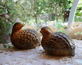 "Vintage Small Partridge Birds Set 2, Shaded Brown Ceramic OMC - Otagiri, Japan - 2 1/2"" and 3"""