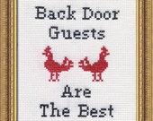 Subversive Cross Stitch PDF pattern: Back Door Guests Are Best