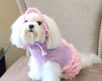 Ruffled Dog Sweater, Hand Knit Pet Sweater, Size XSMALL, Ballerina, Lilac with Pink Ruffles and Appliqued Heart