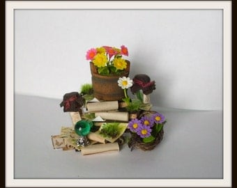 dollhouse Witch miniatures herb stack book ooak wizard herb garden2