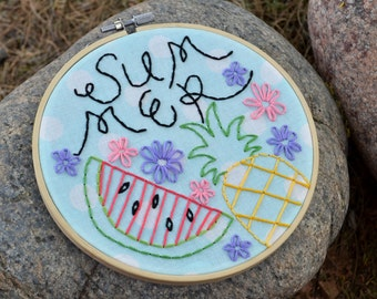 Summer Hand Embroidered Hoop Art, Pineapple & Watermelon 6in Hoop