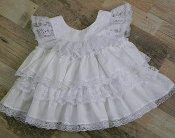 Kotton Kandi Layered Lace White Fancy Party Summer Dress - Baby Girls Vintage Dress - 12 Months