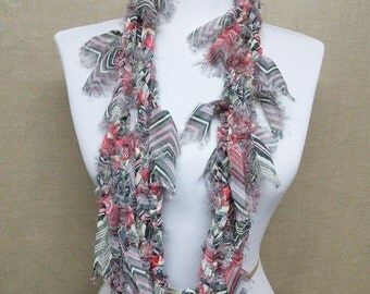 GladRagz Circle of Chains Necklace Scarf in Black, Red, Pink, Cream, Gray Chiffon Ready to Ship Infinity Circle Shredded Knotted Scarf