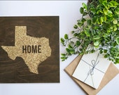 TEXAS STATE HOME wood sign silhouette. tx State. Personalized Map Art 12x12