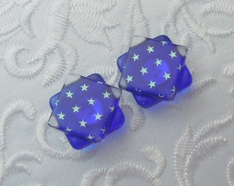 Red White Blue Earrings - 4th Of July - Stars - Flag - Dichroic Fused Glass Post Earrings - Stud Earrings - Dichroic Earrings X1967