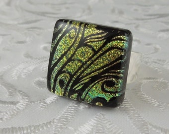 Dichroic Fused Glass Ring - Glass Ring - Fused Glass Ring - Metal Ring - Geekery Jewelry - Dichroic Jewelry - Large Jewelry X4942