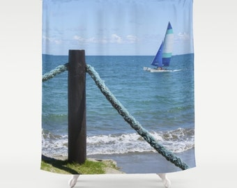 Nautical ropes and yacht photo shower curtain, seaside shower curtain, beach scene shower curtain summer shower curtain sea bathroom decor