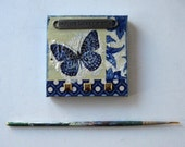 BTGO, Magnetic Art Canvas, Original Blue  Butterfly Collage, Miniature Mixed Media Painting, Mini Canvas, French Country decor, gift idea