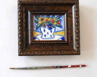 Original Watercolor Still life painting, Framed art, desk accessory, mini painting, French Country Decor, Sunflower, pansy, tulip, gift idea