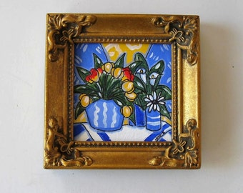 Original Still life Acrylic painting on canvas, framed miniature painting, Tulips, Calla lilies, daisy art, French Country Decor, gift idea