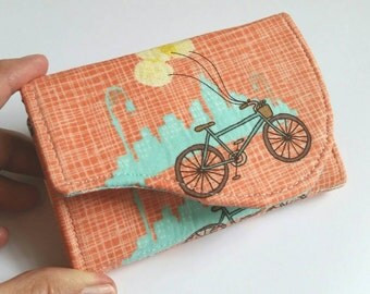 Cityscape Business Card Case - Peachy Aqua Bicycle Print