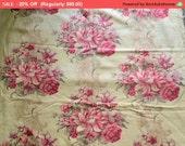 On SALE - Shabby Vintage Barkcloth Fabric Pillow Roses