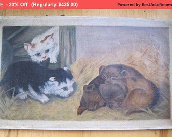 Summer SALE- Antique Painting Cats Dogs Oil Folk Art Victorian