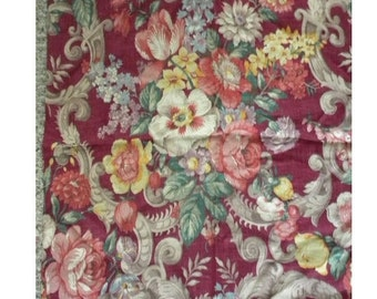 Surprise SALE - Vintage Linen Fabric Roses English