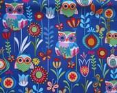 RARE OWL Fabric Hancock Euro Owls Blue - 1 yard - #KR11