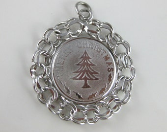 Charm, Sterling Silver, Merry Christmas, Disk Shaped, Inscribed, Patti, Name Plate, Christmas Tree, Pendant