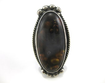 Size 8 Vintage Southwest Large Oval Fire Agate Sterling Silver Ring