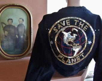 Vintage Denim Jacket, SAVE the PLANET, Black Crop Jacket, L A Gear Jacket, Eco Chic, Denim Crop Jacket, size S