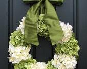 "HYDRANGEA WREATH SALE Hydrangea Wreaths, Summer Hydrangea Blooms, 22"" Hydrangea Wreath, Front Door Wreath, Summer Front Door Wreath, Burlap"