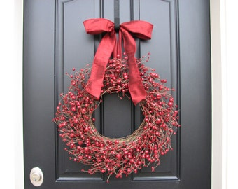 Red Berry Wreath 18 Inches, Large Red Berry Wreath, Christmas RED BERRY WREATH, Holly Berry Wreath, Holiday Red Berry Wreath