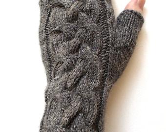 Fingerless Gloves for Women and Teen Girls, Texting Gloves, hand knit gloves, cable pattern, merino/silk/linen blend, charcoal gray gloves