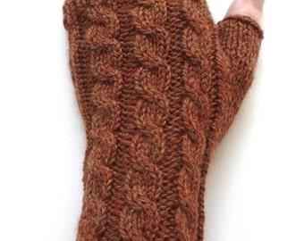 Burnt Orange Handknit Gloves for Women, Teen Girls, Fingerless Gloves, Texting Gloves, cable pattern, knit gloves, Peruvian Highland wool