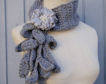 Crochet necklace, handmade scarf, floral scarf, accessories scarf, soft scarf, fall scarf, cowl scarf, crochet winter scarf, scarves, bridal