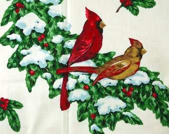 Sewing Panel Christmas Fabric Appliques Cardinal Greenery Bows Wreath Holly DIY Craft Project Kit Vintage Cut and Sew Ornaments