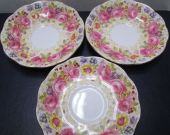 Royal Albert Serena 3 Floral Rose Bone China Saucers Small Plates Vintage Pink Roses Purple Flowers Tea Party Orphans Lot