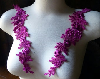 Fuchsia Beaded Applique Pair Lace for Bridal, Sashes, Headpieces, Costume Design PR 198