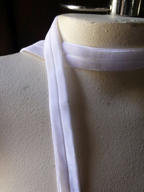 2 yds. Foldover Elastic in White Velvet for Headbands, Garters, Sewing, Bridal  SVL 209