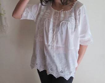 Cotton and Lace Top/Blouse with Upcycled Vintage Lace and Broderie Anglaise Linen Flounce OOAK Size L