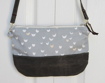 Grey Half Moon Cross Body Purse
