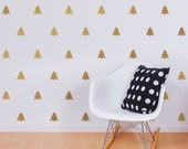 Pine Tree Decal Set, Gold Decals, Fir Tree patterned decal, Christmas Tree, Woodland decor