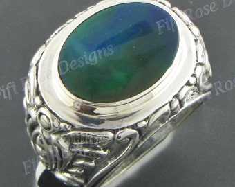 Black Mother Of Pearl Shell 925 Sterling Silver Sz 6 Ring
