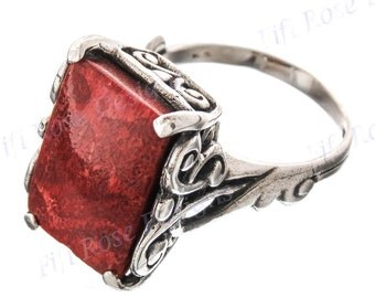 Bright Red Coral 925 Sterling Silver Sz 9 Ring