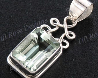 "1 3/8"" 14mm Emerald Cut Green Amethyst Gems 925 Sterling Silver Pendant"