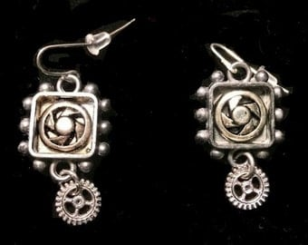 Steampunk Earrings with Gears set in Resin
