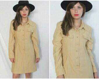 SALE | 1970s Safari Mini Dress | Vintage 70s Tan Esprit Long Sleeve Shirtdress | Small S
