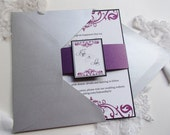 Dark Purple Swirl Layered Wedding Invitation with Belly Band and Shimmery Silver Envelopes