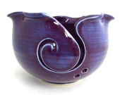 Made to Order Handmade Pottery Knitting Bowl // Yarn Bowl in Aubergine