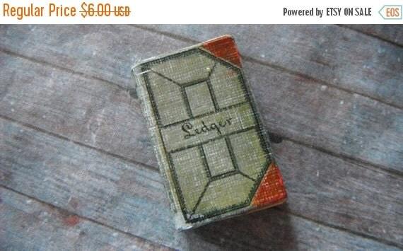 ON SALE Miniature Antique Ledger