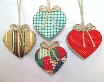 Christmas Heart Ornaments | Home Decor | Tree Ornament | Party Favor | Holidays | Fabric Heart | Handmade | Primitive Folk Art | Set/4, #1